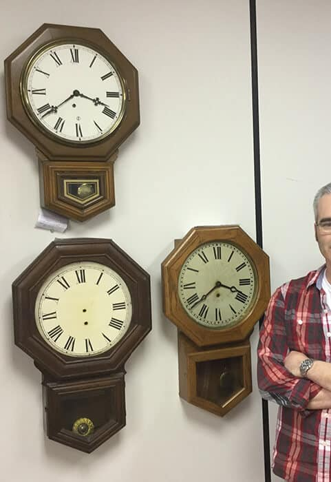 Pequegnat wall clocks and Ray Belanger, our watchmaker.
